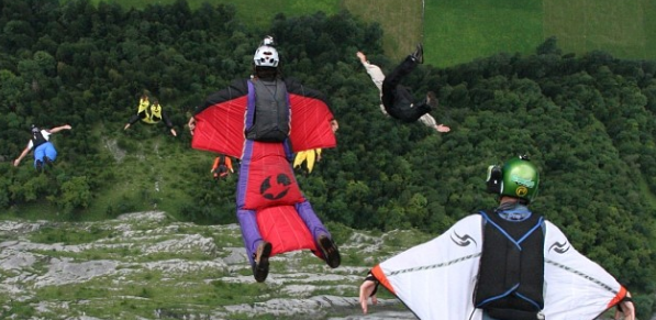 Potter BASE Jumping: Photo by Brendan Cork, found on Potter's Instagram
